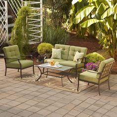 Eastmoreland+outdoor+furniture   Garden Treasures Eastmoreland Green 4-Piece Outdoor Conversation Set