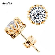 Cheap fashion stud earrings, Buy Quality stud earrings directly from China crown earrings Suppliers: SWATER Summer Stud Earring For Women Men Gold/Silver Color Jewelry Fashion Classic Crown Earings Girls Party Gift Brincos Aros Gold Plated Earrings, Sterling Silver Earrings Studs, Crystal Earrings, Gold Earrings, Crystal Rhinestone, Silver Jewelry, Sterling Sliver, 925 Silver, Crystal Jewelry