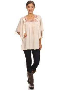 Linen peasant top with with 3/4 bell style sleeves and square neckline with embroidered trim.  Available in sizes small - 3 xl at www.DirtRoadDivaBoutique.com   #peasant #plussize #boutique