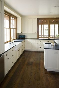 windows down to deck farmhouse kitchen by Marcus di Pietro. White cabinets with wood trim! White Farmhouse Kitchens, Rustic Kitchen, New Kitchen, Farmhouse Style, Farmhouse Sinks, Kitchen Ideas, Country Kitchens, Farmhouse Decor, Farmhouse Ideas
