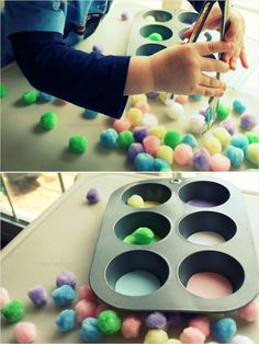 Cut colored circles of construction paper to full the bottom of your muffin tin; then dump pom poms on the table and let your tot use his hands (or the kitchen tongs) to match the each color of pom poms to the appropriate part of the tin