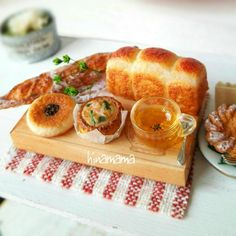 #miniature #food #minifood #bread #pastries #baguette #tea