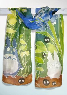 Totoro scarf - silk scarf hand painted - fan-art of Ghibili Totoro and Soot Sprites - children scarves - anime - ...