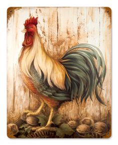 Vintage Rooster Barnwood Metal-Tin Sign