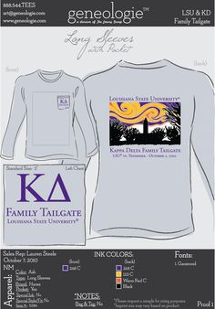 LSU Tailgate Sorority Shirt--like the color combo since it matches ours. just a different picture in the background. for parents weekend?!/homecoming?!