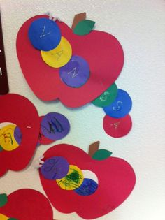 In our study of apples Pre-K made worms out of the students names and had them… Fall Preschool Activities, September Activities, Apple Activities, Preschool Writing, Preschool Crafts, Crafts For Kids, Arts And Crafts, Holiday Activities, Worm Crafts