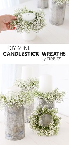 Everything is so much cuter in mini size, don't ya think? Especially these DIY Mini Candlestick Wreaths (or sometimes called candle rings), which would be so perfect for a centerpiece or a simple vignette in your home. Wedding Table Centerpieces, Diy Wedding Decorations, Candle Decorations, Candle Centerpieces For Home, Pink Centerpieces, Graduation Centerpiece, Quinceanera Centerpieces, Centerpiece Flowers, Centerpiece Ideas