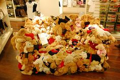 Well, I guess this is one way to organize your kids stuffed animals! lol too fuunny we should make a beenie babie couch