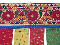 Vintage Toran Banjara Valance Indian Hand Embroidered Door Window Topper L India Pattern, Window Toppers, Indian Summer, Embroidery Hoop Art, Windows And Doors, Valance, Door Hangings, Kids Rugs, Quilts