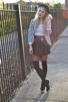 love the striped blazer, pleated skirt, and thigh high socks. overall look A+ !
