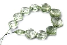 Green Amethyst Faceted Flower / 12.5 to 16 mm / by beadsofgemstone