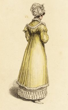 Walking dress, fashion plate, hand-colored engraving on paper, published London, May 1815.