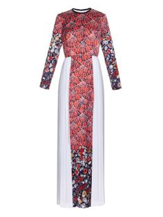 CATERINA GATTA Fan floral-print long-sleeved gown