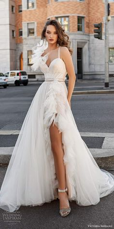 "victoria soprano fall 2020 bridal sleeveless straps sweetheart neckline ruffle a line wedding dress side slit chapel train mv -- Victoria Soprano 2020 ""Star of Milan"" Wedding Dresses Side Slit Dress, Slit Skirt, Slit Wedding Dress, Wedding Dress Styles, Chapel Train, Bridal Boutique, Bridal Collection, Streetwear Fashion, Getting Married"