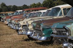 """500 """"new"""" vintage Chevrolets lined up before being sold at a Nebraska auction, Sept 2013."""