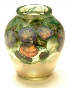 Lot: 2715: Tiffany Favrile Glass Morning Glory Paperweight Vase