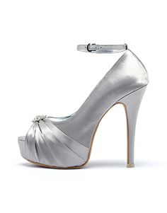 Giselle Silver Five Inch Comfy Killer Heels! Comes with diamante embellishment in front! Shoe love is real love ladies!