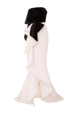 Strapless Silk Gown With Bow Detail by MARCHESA for Preorder on Moda Operandi