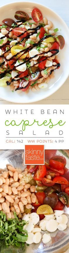 White Bean Caprese Salad – a delicious, protein packed summer salad that is EASY to make, no cooking required!