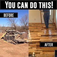 Build your own wood pallet floors! #TheTrainToCrazy
