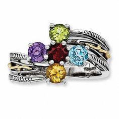 Mother's Simulated Birthstone Ring in Sterling Silver and 14K Gold (5 Stones)