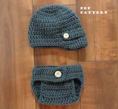 Crochet Hat Pattern - Newborn Newsboy hat AND Diaper Cover