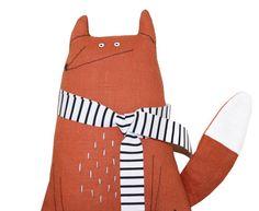 Fox Plush Toy with Scarf, Fox Softie, Fox Stuffed Animal, Handmade Fox Art Doll, Toy Animal, Woodland Creature, Poosac, Nursery, Kids Toy