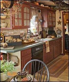 primitive americana decorating style - folk art -  heartland  decor - Colonial & Country style decorating