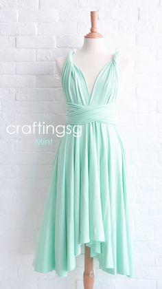 Brautjungfer Kleid Infinity Kleid Mint Knie Länge Cabrio Kleid Hochzeit Wickelkleid