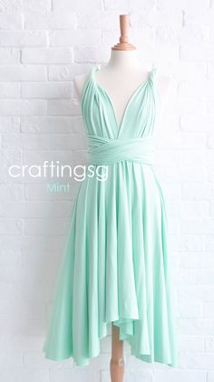 Bridesmaid Dress Infinity Dress Mint Knee Length by craftingsg, $35.00