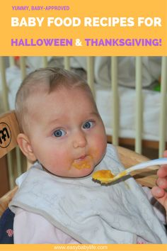 Find treats for your baby's Halloween and recipes for baby's first Thanksgiving. Baby food recipes with pumpkin, sweet potato, turkey, and desserts!