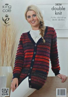 Womens Cardigans Knitting Pattern King Cole Easy Knit Bamboo Cotton DK 4343