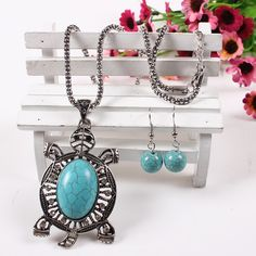Fashion Turquoise Tortoise Design Jewelry Set Exaggeration Women Ladies Earrings Necklace