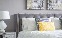 Master bedroom with mirrored nightstands and sunshine yellow accents | Rowlett…