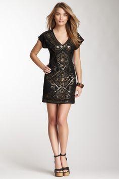 Short Sleeve V-Neck Silk Blend Dress