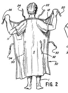 "US Patent 4,622,699 - ""Hospital gown"""