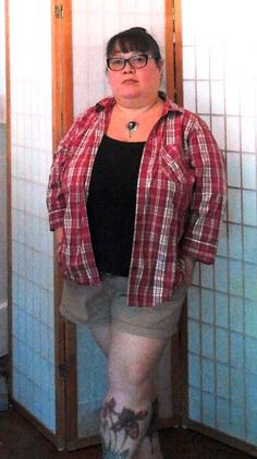 "summer cute supernatural show inspired outfit: thrifted red plaid shirt 2x, brown leather belt, black tank junonia, brown shorts old navy, bravissimo 36KK bra, progressive glasses Costco, tunnel earrings Laughing Buddha Seattle & Misha Collins angel pendant from http://www.optimysticalstudios.com/ & sante lipstick. Shoe options: many cute boots butch or femme. My curvy measurements 52""b-42""w-43""h & >5; hope this helps others contemplating style &plus sized apple inverted triangle fashion…"