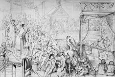 Here's a depiction of Queen Elizabeth I watching Shakespeare's 'The Merry Wives of Windsor' at The Globe. While she sat pretty in a private box, the rest of the audience enjoyed the show from the gallery, while munching on oysters and nuts.