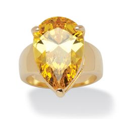 Palm Beach Jewelry PalmBeach 15.47 Carat Yellow Pear-Cut Cubic Zirconia Ring 14k Gold-Plated Color Fun (Size 9), Women's