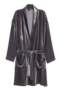 Robe de chambre en velours - Gris - Home All | H&M FR