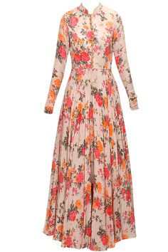 Pink floral print embroidered anarkali set available only at Pernia's Pop-Up Shop. Pretty!