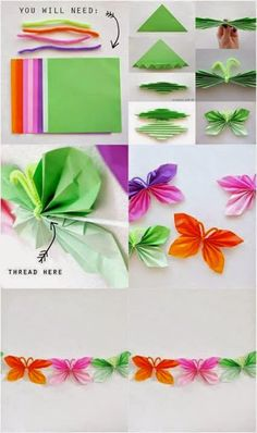 Bellart Atelier: 6 passos a passos com papel. Butterfly Party, Butterfly Birthday, Butterfly Crafts, Flower Crafts, Paper Flowers Craft, Paper Crafts, Kids Crafts, Octopus Crafts, Origami