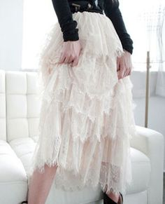 Luxe Rea tiered lace skirt $65