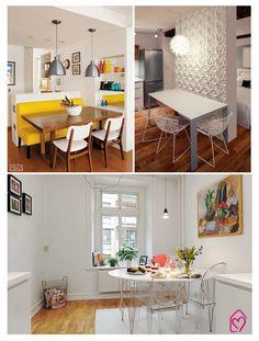 Banco amarelo lindo com as cadeiras brancas. Muito lindo!
