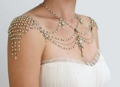 Body Jewelry - The 'My Little Bride' 1920s Inspiration Shoulder Necklace (Side view)