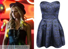 Rebekah Mikaelson (Claire Holt) wears this metallic leopard-print dress in this week's episode of The Vampire Diaries. It is the Forever 21 Leopard Jacquard Dress. Unfortunately it is unavailable