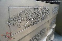 DIY Painted Furniture Projects and Embossed Plaster - Micah Classic Panel Stencils - Royal Design Studio Glazing Furniture, Diy Pallet Furniture, Upcycled Furniture, Furniture Projects, Furniture Making, Furniture Makeover, Painted Furniture, Modern Furniture, Diy Projects