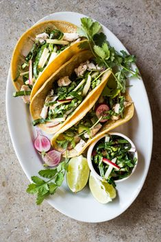 Chicken Tacos with Bok Choy & Radish Slaw - Dishing Up the Dirt
