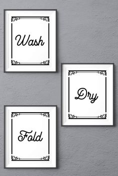 Set of Three Laundry Room Decor Digital Prints, Wash Dry Fold, Printable Artwork, Laundry Room Sign Wash And Fold, Laundry Room Signs, Art Crafts, Word Art, Printable Wall Art, Fine Art Paper, Digital Prints, Promotion, Poster Prints