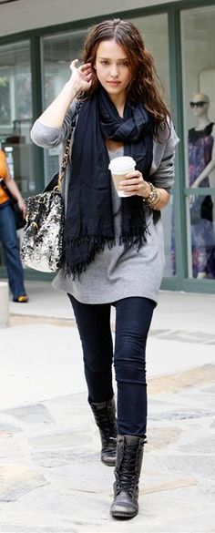 Who made Jessica Alba's black boots, skinny jeans, sequin jeans and black scarf that she wore in Los Angeles on May 19, 2010?